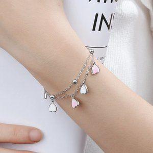 NEW 925 Sterling Silver Pink Glaze Heart Bracelet